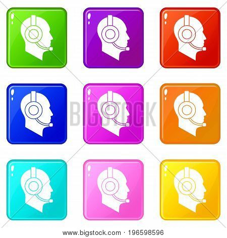 Operator in headset icons of 9 color set isolated vector illustration