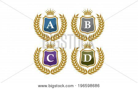 This image describe about Shield Leaves Crown Initial A B C D