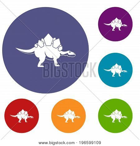 Stegosaurus dinosaur icons set in flat circle red, blue and green color for web