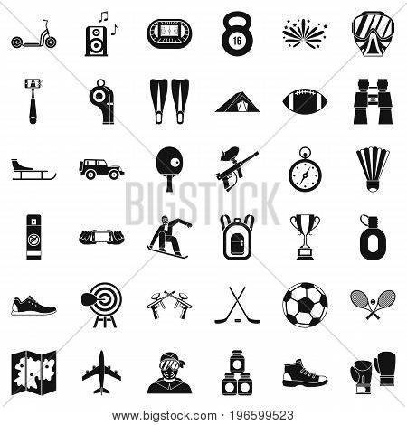 Extreme sport icons set. Simple style of 36 extreme sport vector icons for web isolated on white background
