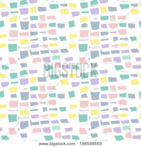 Abstract geometric seamless hand drawn pattern. Colorful brush painted background.Modern grunge texture.