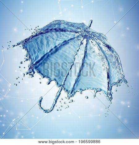 Water splash in the form of a umbrella. 3d rendering