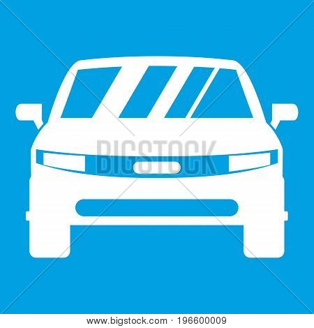 Car icon white isolated on blue background vector illustration