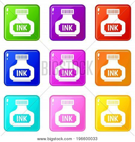 Black ink bottle icons of 9 color set isolated vector illustration