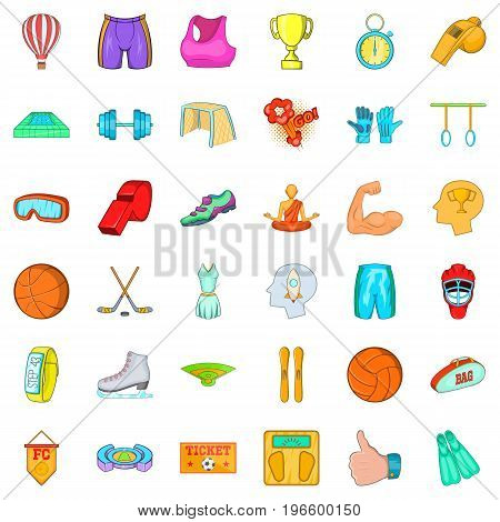 Active sports icons set. Cartoon style of 36 active sports vector icons for web isolated on white background