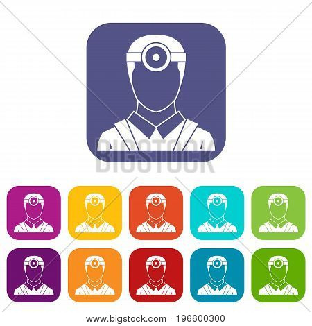 Ophthalmologist with head mirror icons set vector illustration in flat style in colors red, blue, green, and other
