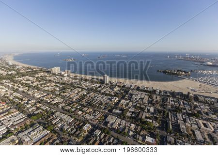 Aerial view of homes and streets in the Alamitos Beach neighborhood of Long Beach, California.