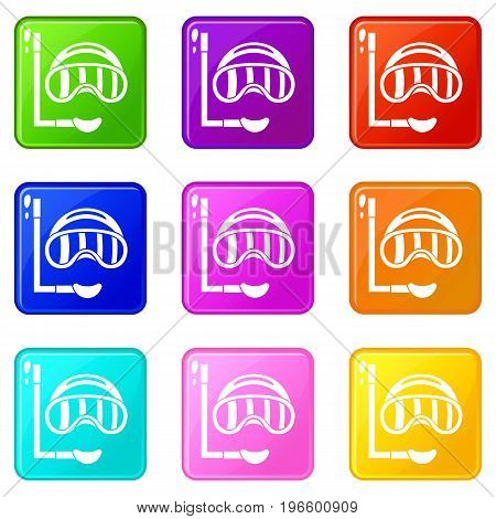 Diving mask icons of 9 color set isolated vector illustration