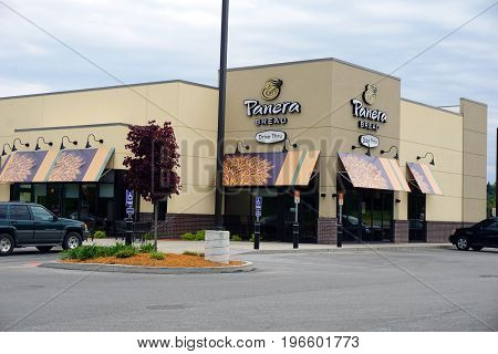 BIG RAPIDS, MICHIGAN / UNITED STATES - MAY 22, 2017: Panera Bread offers soups, salads, pasta, sandwiches, specialty drinks, and bakery items on State Street.