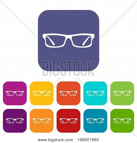 Eye glasses icons set vector illustration in flat style in colors red, blue, green, and other