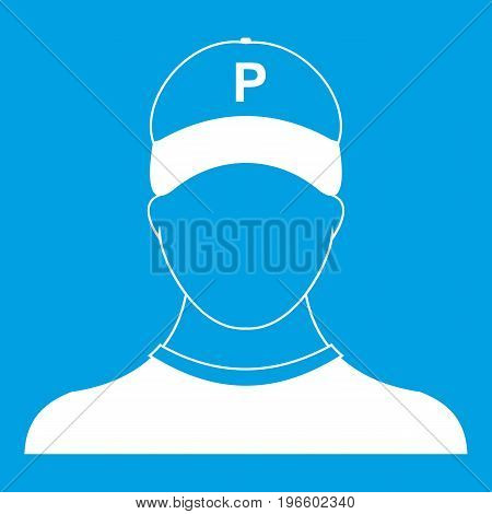 Parking attendant icon white isolated on blue background vector illustration