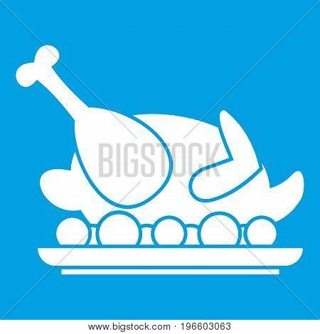 Roasted turkey icon white isolated on blue background vector illustration