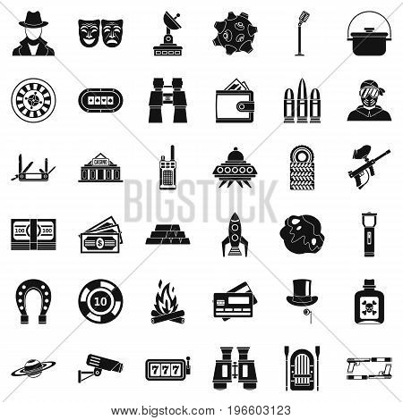 Active games icons set. Simple style of 36 active games vector icons for web isolated on white background