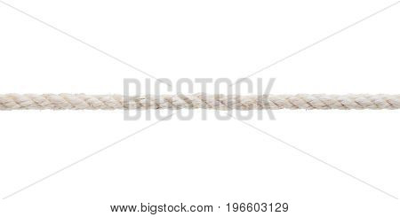 White rough rope close up. Isolated on white