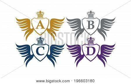 This image describe about Shield Wing Crown Initial A B C D