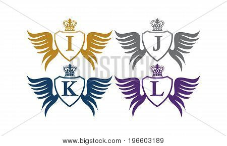 This image describe about Shield Wing Crown Initial I J K L
