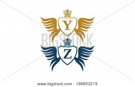 This image describe about Shield Wing Crown Initial Y Z