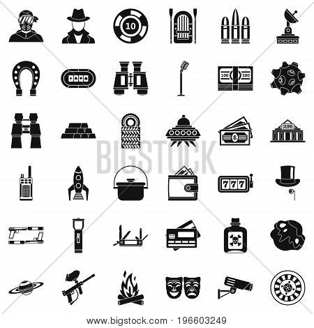 Games for adult icons set. Simple style of 36 games for adult vector icons for web isolated on white background