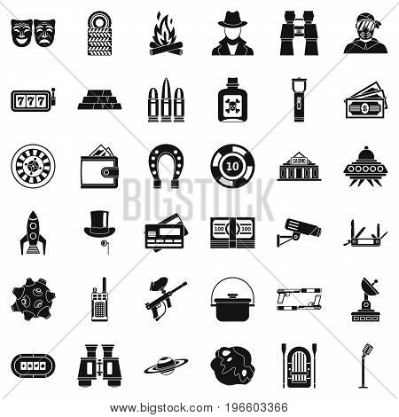 Interest games icons set. Simple style of 36 interest games vector icons for web isolated on white background