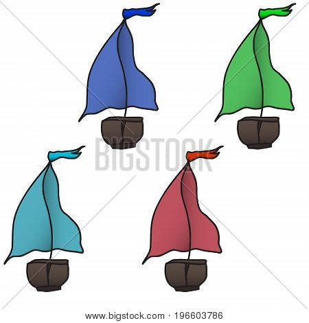 set of four colorful boats. Vector illustration