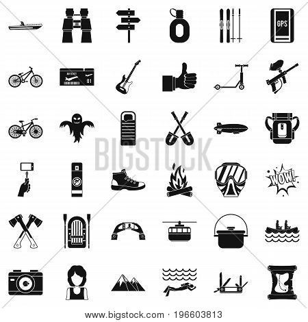 Sport adventure icons set. Simple style of 36 sport adventure vector icons for web isolated on white background