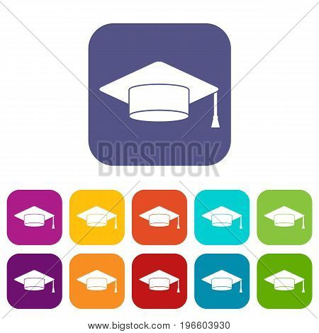 Cap student icons set vector illustration in flat style in colors red, blue, green, and other