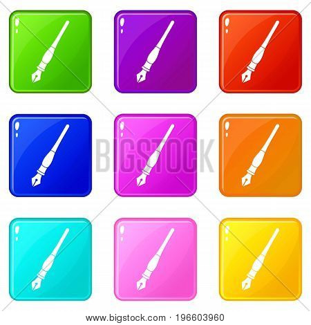 Ink pen icons of 9 color set isolated vector illustration