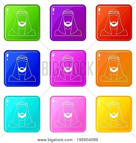 Arabic man in traditional muslim hat icons of 9 color set isolated vector illustration