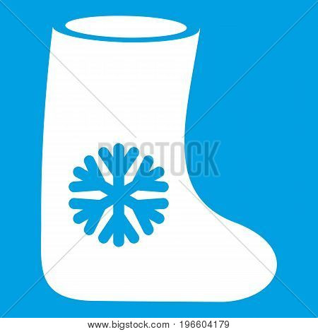 Felt boots icon white isolated on blue background vector illustration