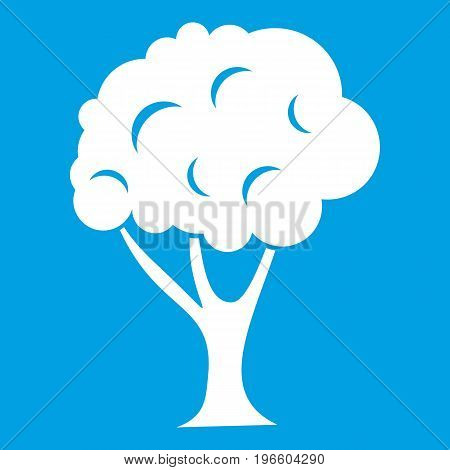 Tree icon white isolated on blue background vector illustration