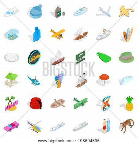 Miami adventure icons set. Isometric style of 36 miami adventure vector icons for web isolated on white background