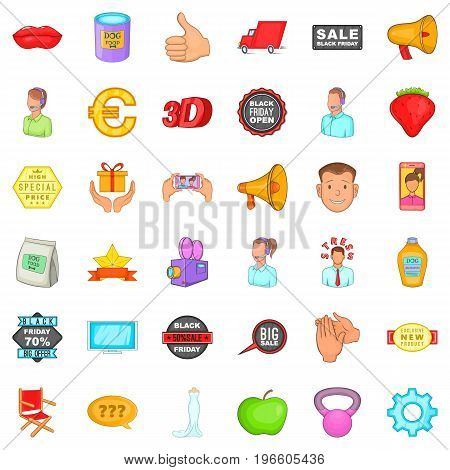 Advertising icons set. Cartoon style of 36 advertising vector icons for web isolated on white background