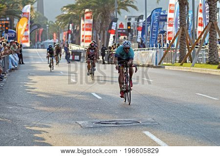NICE - JULY 27 2017 : IRONMAN Nice 2017. Competitors starting for the 180 km bike tour