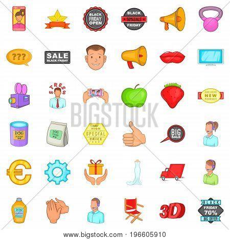 Advertising around us icons set. Cartoon style of 36 advertising around us vector icons for web isolated on white background