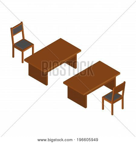 Classic Isometric Wooden Table And Chairs. Vector Illustration.