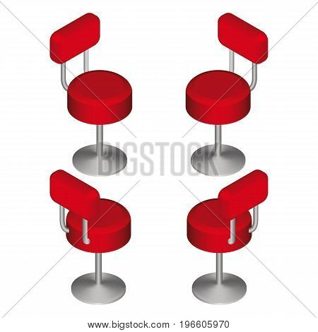 Isometric Red Bar Chairs Set. Tall Cafe Chair. Vector Illustration.