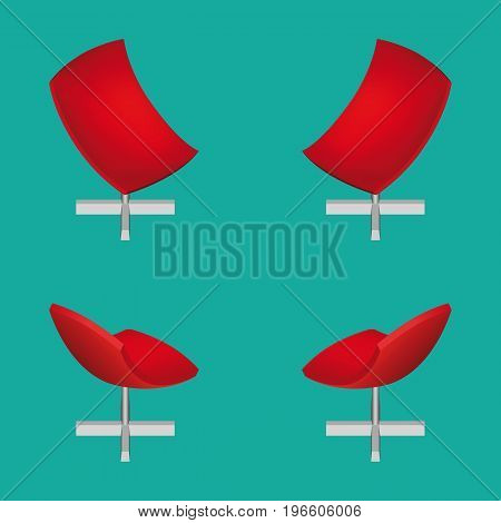 Isometric Modern Red Office Chair. Vector Illustration.