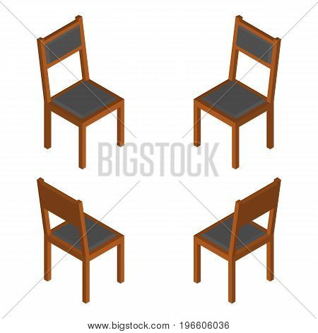 Isometric Classic Wooden Chair. Isolated Vector Isolated Illustration.