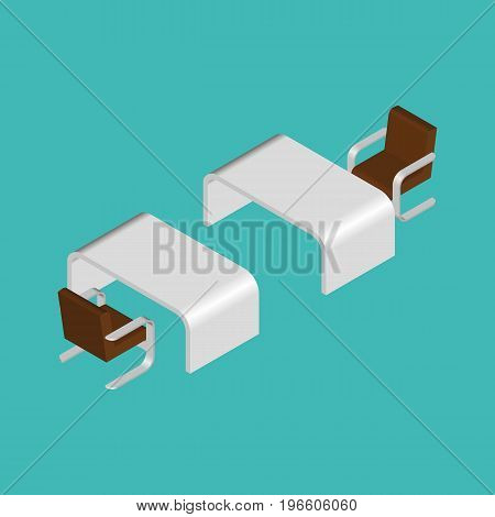 Modern Isometric Table And Chair. Rounded Corners.