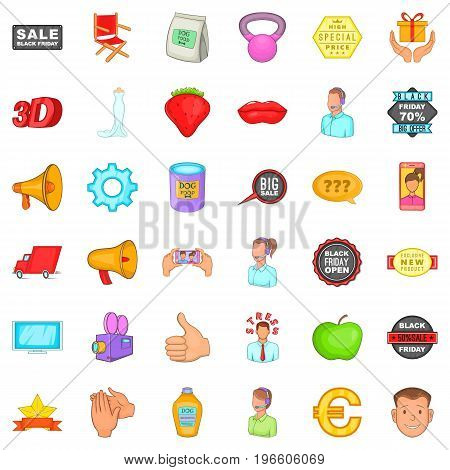 Special advertising icons set. Cartoon style of 36 special advertising vector icons for web isolated on white background