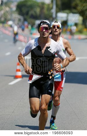 NICE - JULY 27 2017 : IRONMAN Nice 2017. Competitor during the Marathon.