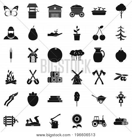 Agronomy icons set. Simple style of 36 agronomy vector icons for web isolated on white background