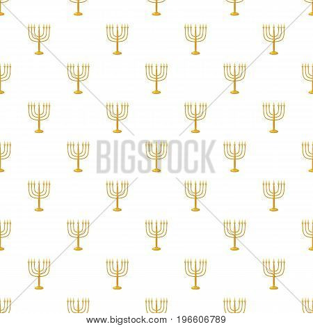 Jewish Menorah with candles pattern seamless repeat in cartoon style vector illustration