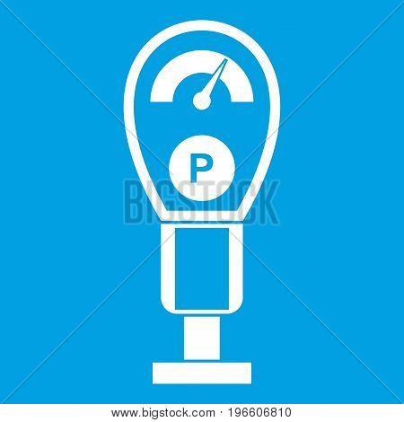 Parking meters icon white isolated on blue background vector illustration
