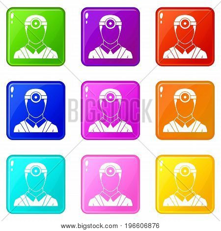 Ophthalmologist with head mirror icons of 9 color set isolated vector illustration