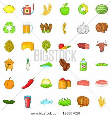 Agriculture working icons set. Cartoon style of 36 agriculture working vector icons for web isolated on white background