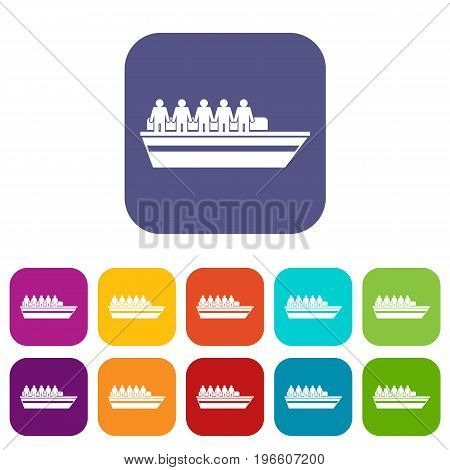 People on ship icons set vector illustration in flat style in colors red, blue, green, and other