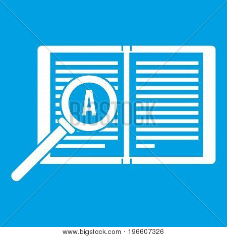 Magnifying glass over open book icon white isolated on blue background vector illustration