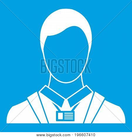 Businessman with identity name card icon white isolated on blue background vector illustration