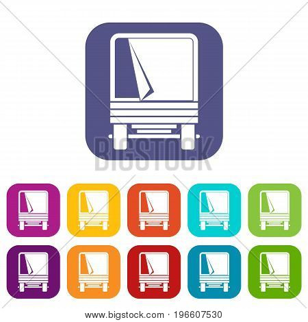 Truck icons set vector illustration in flat style in colors red, blue, green, and other